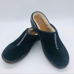 UGG - WOMENS BLACK LEATHER MULES SIZE 6
